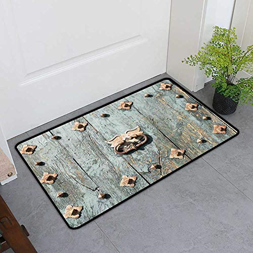 - TableCovers&Home All-Natural Rubber Doormats, Rustic Non-Slip Rugs for Kids Room, European Cathedral with Rusty Old Door Knocker Gothic Medieval Times Spanish Style (Turquoise, H24 x W36)