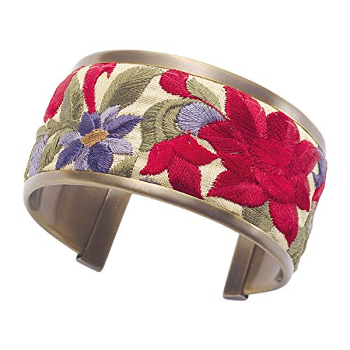 FLORIANA Women's Embroidered Ribbon Trim Cuff Bracelet- 1 3/8