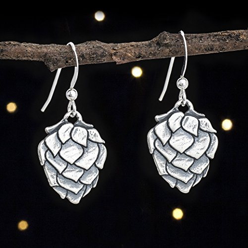 Sterling Silver Hop Flower Earrings - Beer Lover Gift - Solid .925 Sterling Silver, Ready to Ship