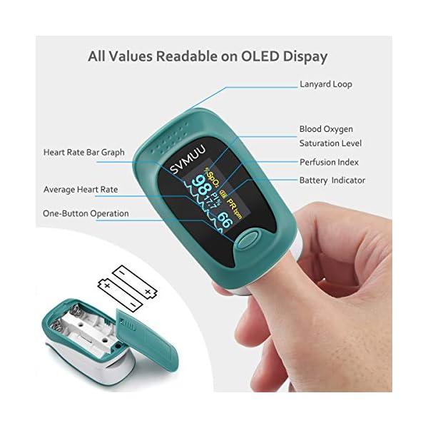 SVMUU Pulsossimetro, Ossimetri Professionale Portatile con Display LCD, Misura in 6 Secondi, per La Frequenza del Polso… 2 spesavip