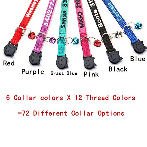 FlowerTown Cat Collar,Personalized Embroidered Nylon Cat ID Collars with Bell - Custom Text with Pet Name and Phone Number ...