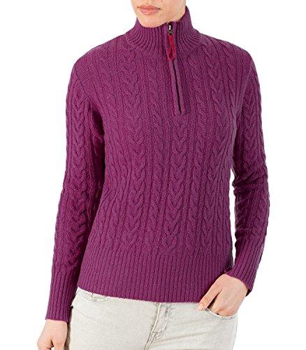 WoolOvers Zopfmuster-Pulli für Damen (Lambswool) - M6 purpur Large
