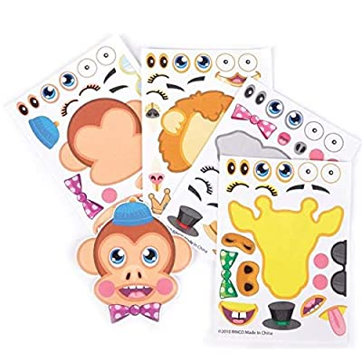 Rhode Island Novelty Make Your Own Zoo Animal Sticker Assortment 12 Sheets Per Order: Toys & Games
