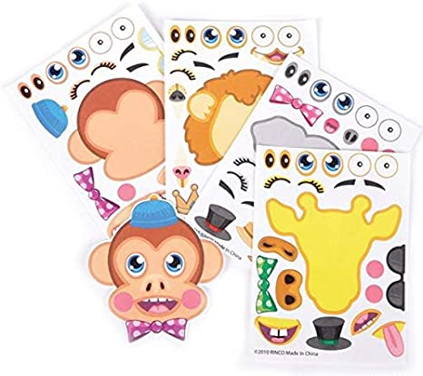 Birthday Party Favors Crafts Supplies Make Your Own Animal Sticker 6 Different Animals Stickers for Kids PADELO 24 Pcs Make-an-Animal Stickers Sheets