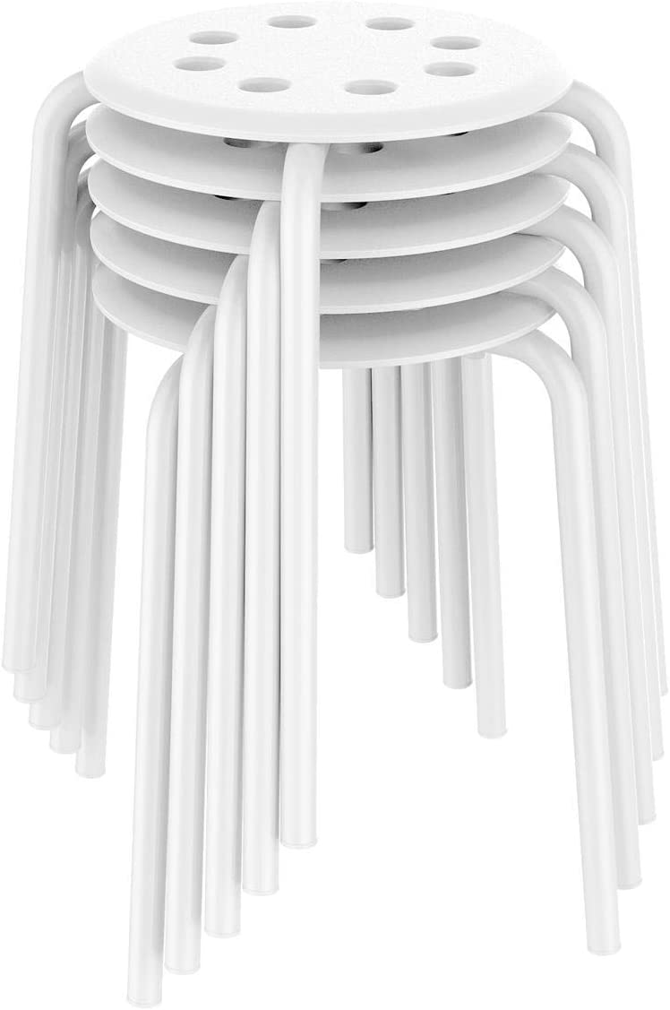 Yaheetech Plastic Bar Stools Flexible Seating Backless Barstools Dining Chairs Stack Stools, 17.3inches Height White Pack of 5