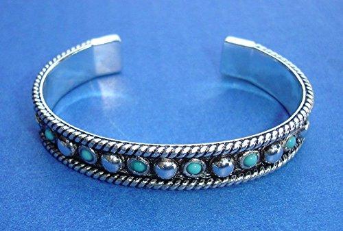 Western Jewelry Cuff Bracelet Faux Turquoise Anodized 2 5/8