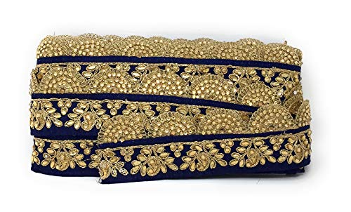 (Inhika 9 Yard lace Border Trim for Women Saree Dupatta Colour Navy Blue Gold on Dupion Material 6.5 cm Wide Embroidery, Beaded Stones Flat Trim)