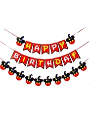 Mickey Mouse Party Supplies Kits, Mickey Happy Birthday Banner Flags, Baby Kids Shower Mickey Mouse Favors Theme Decoration