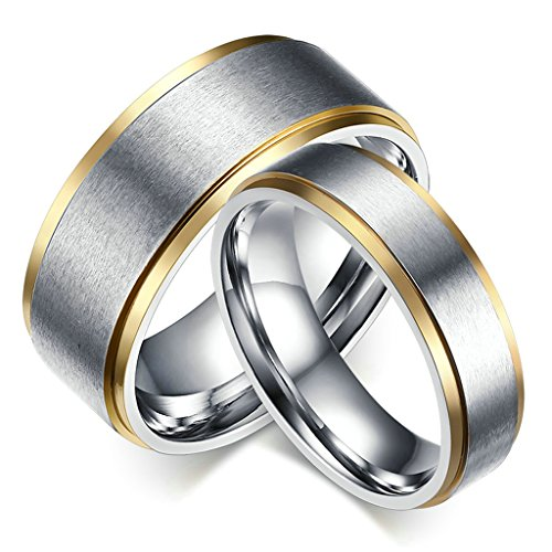 ANAZOZ 316L Stainless Steel 6MM Matte Finished Gold-Plated Wedding Ring for Her Size 9