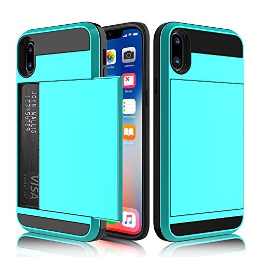 iPhone X Case, iPhone X Wallet Case, Elegant Choise Hard Rubber Hybrid Bumper Armor Dual Layer Shockproof Protective Case Cover with Credit Card Slots Holder for Apple iPhone X (Blue)