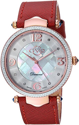 GV2-by-Gevril-Womens-Sassari-Swiss-Quartz-Stainless-Steel-and-Leather-Casual-Watch-ColorRed-Model-1002