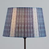 Indigo Blue Shibori Print Linen Accent Lamp Shade - with Distressed Indigo Finish - 10''Dia. x 6.75''H