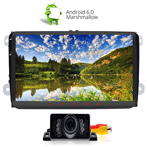 Alling Wifi 9 Inch Android 6.0 Double 2 Din Car Stereo Video Receiver Radio GPS Navi for VW Golf Polo Passat Tiguan Jetta EOS +Free Rear Camera Capacitive Screen - Polo Free