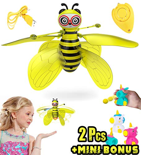 Akargol Flying Bee Toys for 3-12 Year Old Girl Gifts - RC Flying Fairy Toy for Kids Gravity Defying Hand-Controlled Suspension with Remote Controller for Birthday Girls and Boys