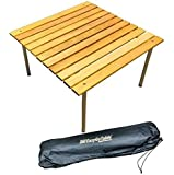 "EasyGo Products Portable Wood Table That Fits in a Bag 27.25"" Square Great for Camping, Picnics, Beach, Concerts, Tailgating & More, Honey"