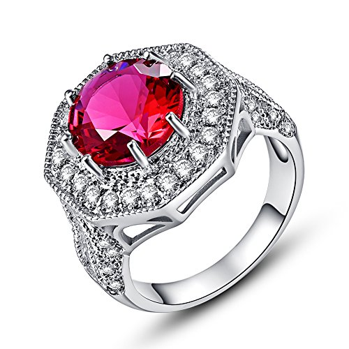 Psiroy 925 Sterling Silver 8mm Ruby Spinel Filled Ring Cluster Cocktail Band