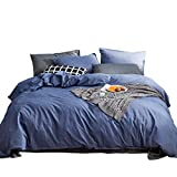 High Quality King Comforter Sets SUSYBAO 3 Pieces Duvet Cover Set 100% Natural Washed Cotton Denim Blue King Size 1 Duvet Cover 2 Pillowcases Luxury Quality Durable Ultra Soft Breathable Fade Resistant Bedding Set with Zipper Ties