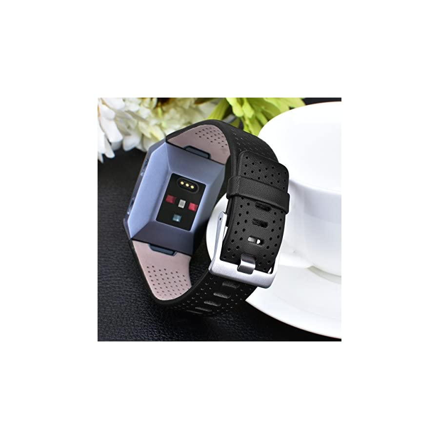 CAGOS Compatible Fitbit Ionic Band Breathable Genuine Leather Band Strap Replacement Accessories Wristband for Fitbit Ionic Women Men