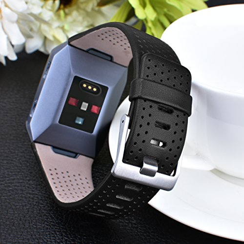 Fitbit Ionic Band Breathable Genuine Leather Band Strap Replacement Accessories Wristband for Fitbit Ionic Women Men