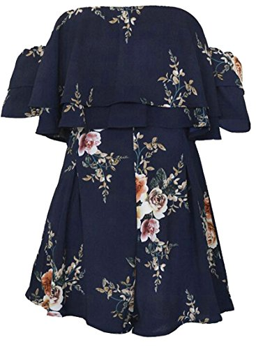 SYTX Womens Stylish Off Shoulder Ruffled Floral Printed Beach Short Romper Jumpsuits Navy Blue S