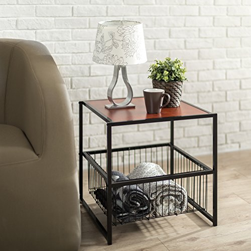 Zinus Modern Studio Collection 20 Inch Deluxe Side / End Table / Coffee Table / Night Stand with Metal Storage Basket