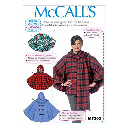 McCall's Patterns M7202 Misses' Ponchos Sewing Template, ZZ (LRG-XLG-XXL) -