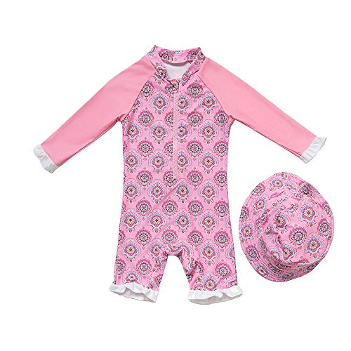 Baby/Toddler Girl One Piece Swimsuit Long Sleeve with UPF 50+ Sun Protection (Pink3, 24-36 Months)]()