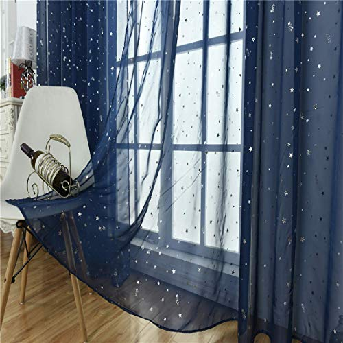 Kid Boy Room Window Sheer Navy Blue Curtain Panel Rod Pocket Beautiful Star Voile Sheer Drape Curtain for Children's Bedroom Living Room,Window Treatments Curtains,39 x 106 inch,Navy Blue,1 Panel -
