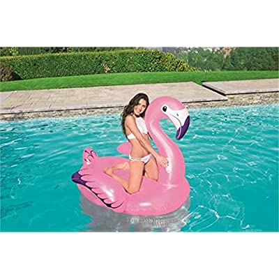 Bestway H2OGO! Luxury Flamingo Pool Lake Inflatable Summer Party Ride-On Float with Heavy-Duty Handles (Purple Glitter Accents!), Pink 41119E: Toys & Games