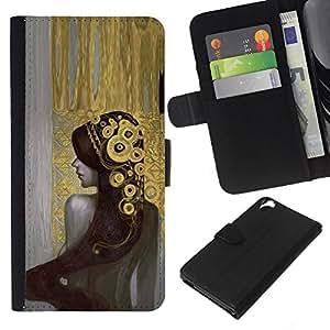KLONGSHOP // Tirón de la caja Cartera de cuero con ranuras para tarjetas - Chica Bling Pintura tiara de la manera atractiva - HTC Desire 820 //