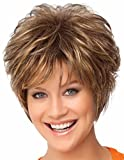 YIMANEILI Short Curly Wigs for White Women - Brown Hair Bob Wig Heat Resistant Synthetic Fashion Wig (brown with golden)
