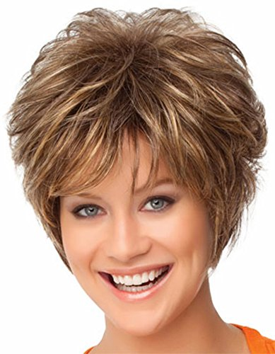 FENCCA Short Curly Wigs for White Women Brown Bob Hair Wig Natural Looking Heat Resistant Synthetic Fashion Wig with Wig Cap (brown with golden)