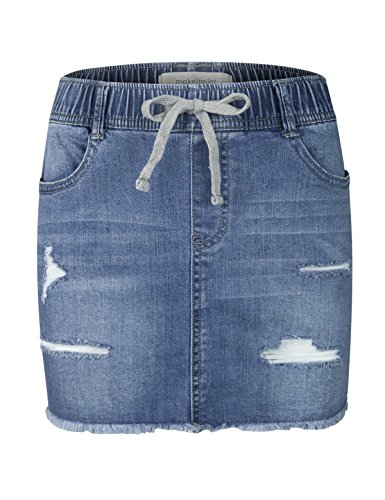 - makeitmint Women's Comfy Elastic Band Denim Jean Ripped Frayed Hem Mini Skirt YBSK0015-MEDIUM-MED