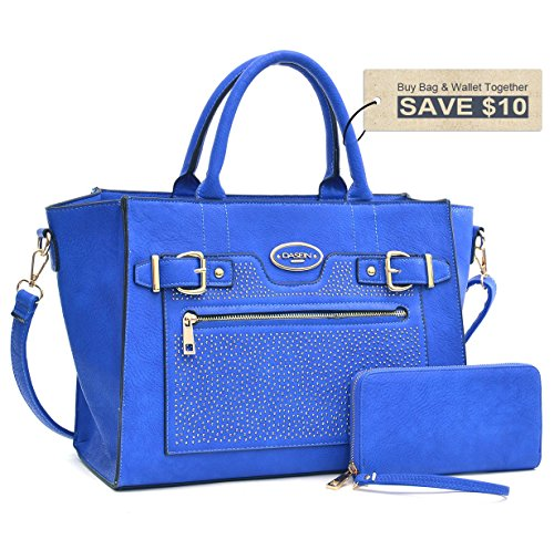 Dasein Designer Tote Bag Winged Satchel Fashion Belted Medium Swagger Tote Satchel Bag Briefcase Handbag with Matching Wallet- (Medium Square Tote)