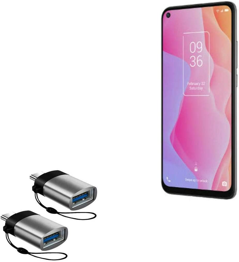 TCL 10L Cable Slate Grey USB Type-C OTG USB Portable Keychain for TCL 10L BoxWave USB Type-C PortChanger 2-Pack