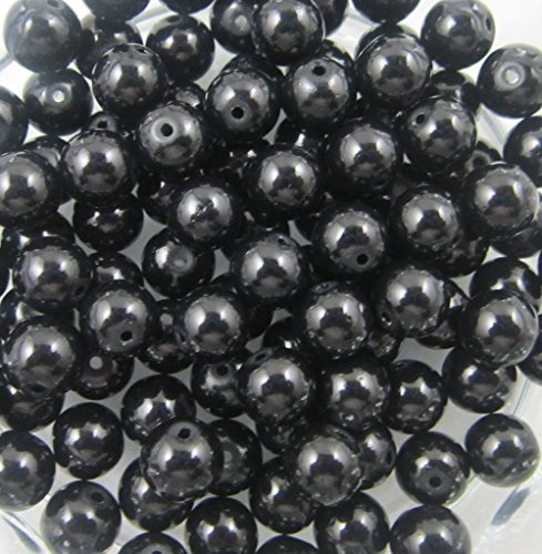Glass-Pearl-Round-Spacer-Loose-Beads-4mm(100pcs) Black - Oblong Frames Glasses