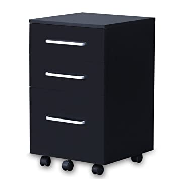 Amazon.com : DEVAISE 3 Drawer Wood File Cabinet, Black : Office ...