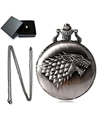 Engraved Pocket Watch, Aolvo 3D Embossed The Ice Field Wolf Head Personalized Watch, Vintage Style Mini Hanging Pocket Watch Pendant with Chain Nacklace Decor, Ideal Gift Accessories