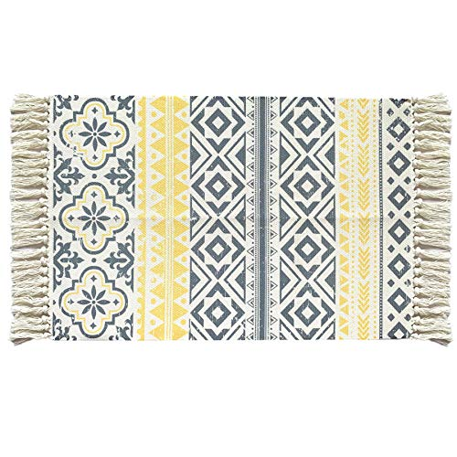 Ukeler Cotton Printed Kilim Porch Rugs Yellow Triangle Entryway Thin Throw Rug Hand Woven Washable Outdoor Doormat 2'×3'