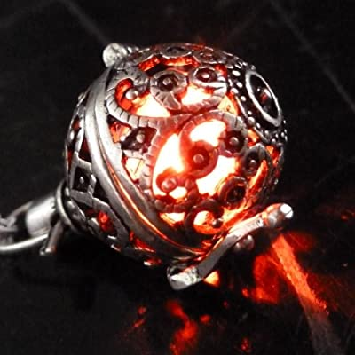 UMBRELLALABORATORY Steampunk FIRE necklace - pendant charm locket jewelry- GREAT GIFT-silver Red