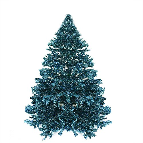 Northlight Pre-Lit Shimmering Blue Green Peacock Color Theme Tinsel Christmas Tree, 7.5'