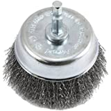 Forney 72732 Wire Cup Brush, Fine Crimped with 1/4-Inch Hex Shank, 3-Inch-by-.008-Inch
