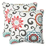 Pillow Perfect Outdoor Pom Pom Play Peachtini Throw Pillow, 18.5-Inch, Set of 2