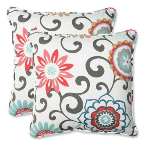 51hKamTXttL - Pillow Perfect Outdoor Pom Pom Play Peachtini Throw Pillow, 18.5-Inch, Set of 2