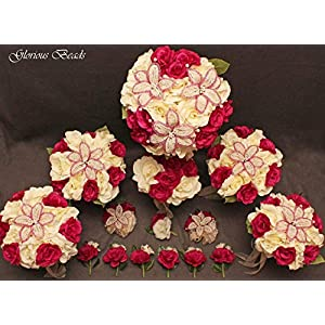 Wedding Bridal Bouquet Dark Fuchsia Pink and Ivory Cream 15 PC Set BEADED Lily Package with Rose Corsages and Boutonnieres 13