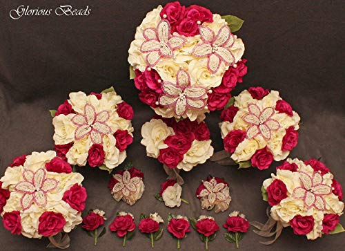 Wedding Bridal Bouquet Dark Fuchsia Pink and Ivory Cream 15 PC Set BEADED Lily Package with Rose Corsages and Boutonnieres