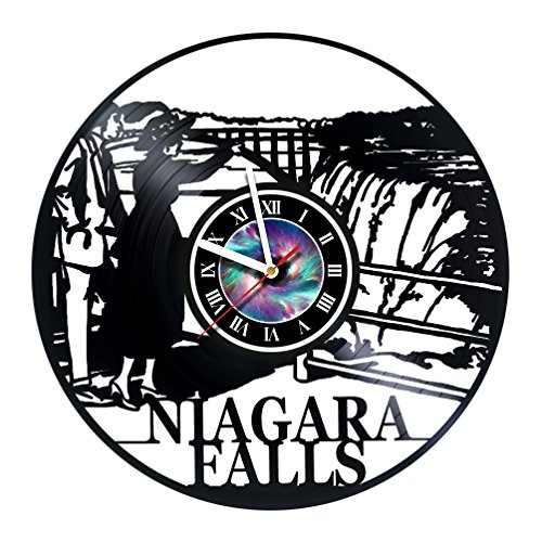 Niagara Falls - Waterfall - Handmade Vinyl Record Wall Clock - Get unique living room wall decor - Gift ideas for boys and girls,friends - Nature New York Unique Art Design - Customize your clock !]()