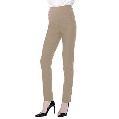 ANGGREK Womens Dress Pants Work Casual Business Office Straight Leg Trousers at Women's Clothing store
