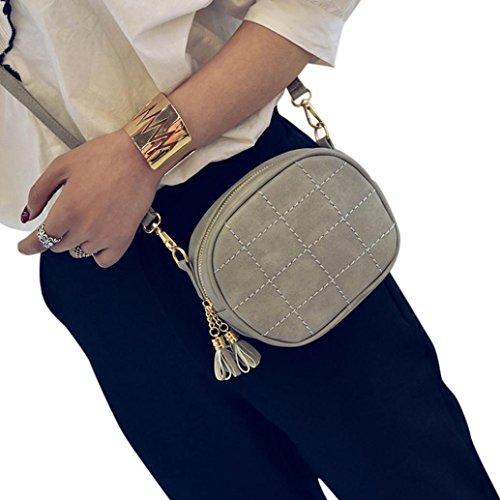 Zarupeng Frauen-Leder-Handtasche, Crossbody-Schulter-Kurier-Telefon-Münzen-Beutel Grau