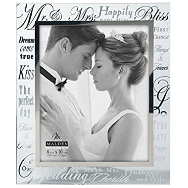 Malden International Designs Mirrored Glass With Silver Metal Inner Border Mr. and Mrs. Picture Frame, 8x10, Silver